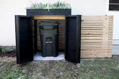 DIY Modern AC Unit Cover and Trash Can or propane tank Storage - Within the Grove Trash Can Storage Outdoor, Garbage Can Storage, Garbage Shed, Outdoor Trash Cans, Ac Unit Cover, Ac Cover, Hide Ac Units, Hide Trash Cans, Fast Setting Concrete