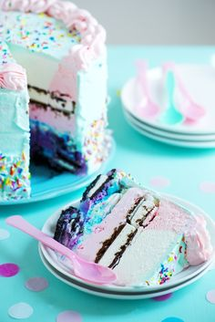 7 LAYERED ICE CREAM CAKE........Under a pastel whipped cream frosting......Layers from bottom to top: 1. Oreo crumb crust...2. cotton candy ice cream...3. Oreos...4. birthday cake ice cream...5. bubble gum ice cream...6. ice cream sandwiches...7. neapolitan ice cream
