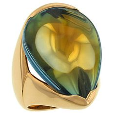 The All Golden (sans priceTaG) 18k Yellow Gold Baccarat PearShape Scarabee Yellow Crystal Ring