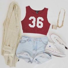 "Sporty Look: Short's; Red Sporty Top ""36""; White Bolero; White All Stars; Gold Necklace; Gold Bracelet. Enjoy the look =]"