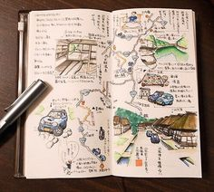 Gorgeous midori travelers notebook pages - ideas and inspiration for keeping a travel journal, sketchbook, scrapbook, or art journal