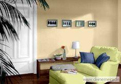 Farbgestaltung Für Ein Wohnzimmer In Den Wandfarben: Cream/My Green  Tea/Niagara