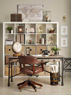 Home office storage ideas video. How to get an organised home office in just 4 easy steps. We asked Country Homes & Interiors editor, Rhoda Parry for her 4 ways to clear home office clutter Vintage Industrial Decor, Vintage Home Decor, Vintage Style, Vintage Nautical, Vintage Office Decor, Nautical Style, Industrial Office, Furniture Vintage, Masculine Office Decor