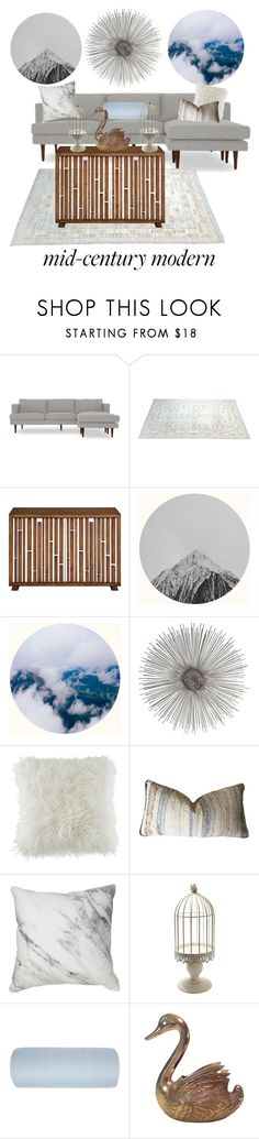 """Mid-Century-Modern"" by merehartz ❤ liked on Polyvore featuring interior, interiors, interior design, home, home decor, interior decorating, Joybird, BCBGeneration, Hotel Collection and modern"