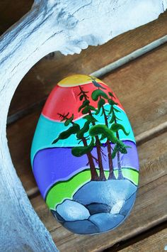 Hand painted stone- West Coast Tree's with Colorful Sky - home decor, beach, cabin.