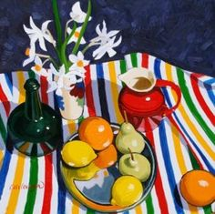 Scottish Artist Frank COLCLOUGH - Still Life Study on Striped Cloth