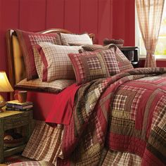 Red Brown Rustic Lodge Log Cabin Twin Queen Cal King Country Quilt Bedding Set #VhcBrands #Country