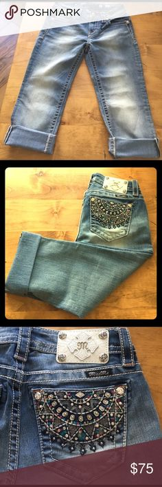 Miss Me Capri NWOT size 27 rainbow colored Miss Me NWOT capri size 27 inseam 21.5 can be worn cuffed or not.  Great rainbow coloring with rhinestones. Tag came off in shipping.  Over 300 sold Miss Me Jeans Ankle & Cropped