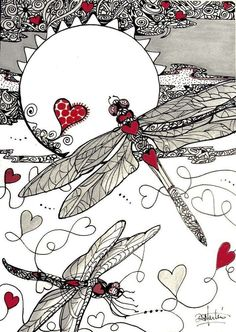 DRAGON HEARTS SPeciALTY hearts Dragonflys Original paper zentangle by Diana Martin . I love a splash of color in zentangle! Zentangle Drawings, Doodles Zentangles, Zentangle Patterns, Doodle Drawings, Mosaic Patterns, Tangle Doodle, Tangle Art, Zen Doodle, Doodle Art