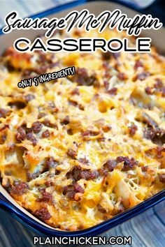 Sausage McMuffin Casserole - Chopped English muffins, sausage, cheese, eggs and milk. Can make a day ahead of time and bake for breakfast, lunch or dinner. All the flavors of a Sausage McMuffin from Mc Donald's in a yummy breakfast casserole. Serve with maple syrup! #casserole #sausage #englishmuffin #breakfast Fast Food Breakfast, What's For Breakfast, Breakfast Items, Breakfast Dishes, Breakfast Recipes, Breakfast Casserole Muffins, Breakfast Cassarole, Sausage Breakfast, Crescent Rolls