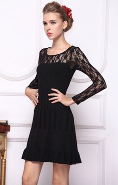 Black Contrast Lace Long Sleeve Pleated Dress