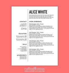 Modern Resume Template - the Claire | Template, Simple resume and ...