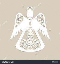Christmas carved openwork angel. A template for laser cutting. Picture perfect for decorations holiday tree, greeting card, interior design, stencil production, for kids and family art creativity