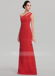 [£80.00] Sheath/Column One-Shoulder Floor-Length Satin Evening Dress