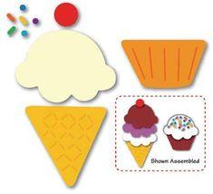 Moldes eva do sorvete completo