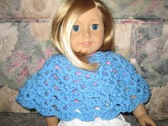 """Poncho is designed for an 18 inch """"American Girl"""" type doll. It is made from the neck down using a shell stitch."""