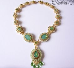 Raphaela - Amazing Green Opal Crystal Glass Cabochones and 24kt Gold Light Plated seed beads Jewelry Set - Necklace and Earrings
