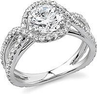 Stardust twist halo micro-pave diamond engagement