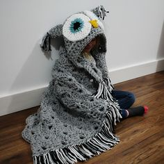 This is a PDF crochet pattern for a Bulky & Quick Owl Blanket! Pattern comes in Child and Adult size.