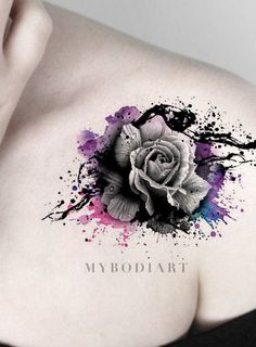 Cool Watercolor Splat Black Rose Tattoo on Shoulder - Traditional Vintage Floral. - Cool Watercolor Splat Black Rose Tattoo on Shoulder – Traditional Vintage Floral Flower Arm Tat I - Tattoo Poppy, Lace Tattoo, Tattoo On, Cover Tattoo, Body Art Tattoos, Sleeve Tattoos, Wrist Tattoo, Ankle Tattoo, Gun Tattoos