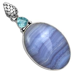 Blue Lace Agate & Blue Topaz 925 Sterling Silver Pendant Jewelry 5681P