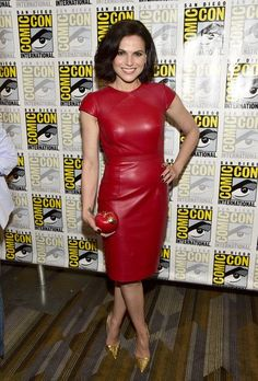 Lana Parrilla Leather Dress - Lana Parrilla was all about edgy sophistication in a red leather dress by Gomez-Gracia while attending Comic-Con International 2016.