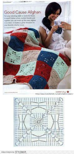 Goid Cause afghan. Crochet Car, Manta Crochet, Crochet Blocks, Crochet Squares, Love Crochet, Irish Crochet, Granny Squares, Crochet Motif Patterns, Crochet Diagram