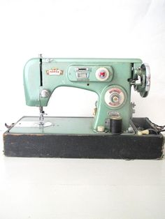 Vintage Sewing Machine- Morse Zig Zag Mint Seafoam Green Metallic Sewing Machine in Case- Display/ Sewing. $115.00, via Etsy.