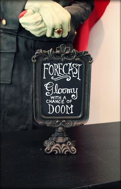 whimsical fun for the gothic at heart the weather forecast everyday Michael's 2015 Halloween and Halloween Related Halloween Quotes, Halloween Signs, Halloween 2015, Halloween Projects, Halloween House, Holidays Halloween, Happy Halloween, Halloween Table, Halloween Ideas