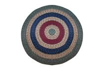 California - Country Sage with Burgundy & Navy Round Braided Rug This high-quality braided rug is made by American workers at our family-owned business in the North Carolina Mountains. It is made from Naturalized Olefin, which is a synthetic, polypropylene yarn that is extremely durable, yet soft enough for use indoors. It is color fast and washable. Visit www.stroudbraided... for more details