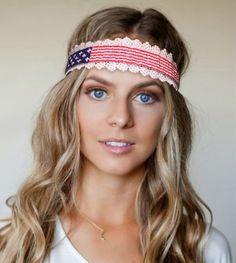 $9.00 Beaded American flag headband, seed bead headband, Hair Accessories, Hippie Headband, Bohemian Headband, Elastic Headband by JanysJewelryBox on Etsy
