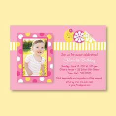 Cute pink lemonade party invitations