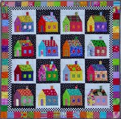 PDF Quilt Pattern -- Digital Pattern for Sought-after Neighborhood wall quilt (pdf) House Quilt Patterns, House Quilt Block, Star Quilt Patterns, Quilt Blocks, Canvas Patterns, Paper Piecing, Herringbone Quilt, Mini Quilts, Star Quilts
