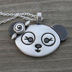 Sweet Rosey Panda Sterling Necklace SHIPS IMMEDIATELY by westbyron, $58.00