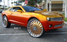 """ace whips donks   Female's 2010 Chevy Camaro on 30"""" Dub Swyrl Floaters"""