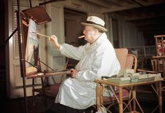 5 Tips for a Cigar friendly Man Cave. Sir Winston Churchill in his art studio