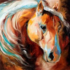 Sold ~ M BALDWIN ORIGINAL OIL PAINTING HORSE ART ~ MAGIC MOMENTS ~ MARCIA BALDWIN
