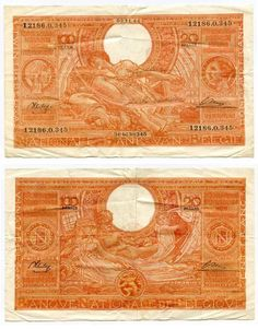 Description: A beautiful very fine or better large banknote from Belgium. This is the 03.11.44 hundred francs or twenty Belgas. The banknote is pink or orange in color, showing the head of queen Eliza