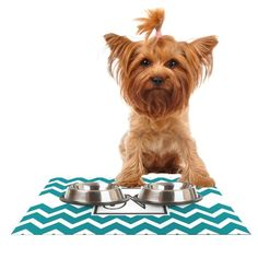 Kess InHouse KESS Original 'Monogram Chevron Teal Letter N' Feeding Mat for Pet Bowl, 24 by 15-Inch >>> Click on the image for additional details. (This is an affiliate link and I receive a commission for the sales) #Catfeeding and watering supplies