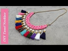 Tassel necklace//How to make tassel necklace at home//Step by step//Tuto. Thread Bangles Design, Thread Jewellery, Tassel Jewelry, Fabric Jewelry, Tassel Necklace, Pearl Necklace, Jewellery Box, Jewellery Shops, Jewelry Stores