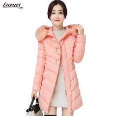 1PC Winter Jacket Women Fur Hooded Parka Winter Coat Women Cotton Padded Long Coats Womens Winter Jackets Z1289