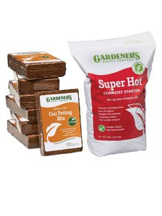 This kit contains coir fiber and Super Hot® Compost Starter to rev up your compost pile with nitrogen and beneficial microorganisms. Fall Vegetables, Organic Vegetables, Compost Thermometer, Tumbling Composter, Compost Tumbler, Raised Vegetable Gardens, Veggie Gardens