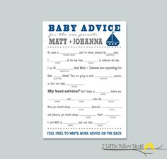 Baby Shower Advice Cards  Mad Libs Sail by 2littleyellowbirds, $20.00