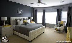 Bedroom: Gray Bedroom Design Ideas Modest Grey Bedroom Ideas For Women On Bedroom Decorating Ideas With Interior Gorgeous Black And White Bedroom Designs For Guys: Amazing High Contrast Bedroom Furnishing also Contemporary Bedding Sets in Black with White Dark Gray Bedroom, Grey Bedroom Design, Bedroom Colors, Bedroom Decor, Bedroom Ideas, Bedroom Designs, Bedroom Photos, Grey Room, Grey Bedrooms