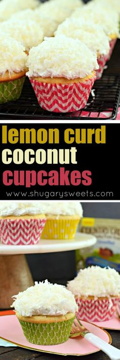 Lemon Coconut Cupcakes- sweet ricotta cupcakes filled with lemon curd and topped with buttercream and coconut #easterrecipes #cupcake #cupcakes