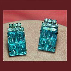 Let's Get Vintage - Earrings - Vintage enchanting aqua clip earrings. Signed SEVERINO - Vintage Costume Jewelry