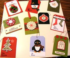 Christmas Tags.....Stampin' Up! treat cup, season of joy, ornament punch, circle, scallop punch....