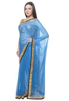 Firozi Colored Lycra Saree Sarees on Shimply.com