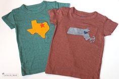 I love them, my kids would beg me to make them, but would they wear them? state  applique shirts