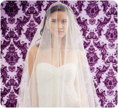 NEW 42 Inch Drop Wedding Veil with a 34 Inch Blusher. $155.00, via Etsy.